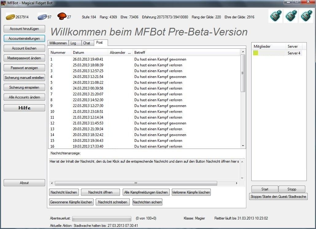 Aktuelles Postfach des MFBots in der Pre-Beta-Version