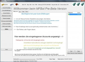 Aktueller Willkommensbildschirm des MFBots in der Pre-Beta-Version.