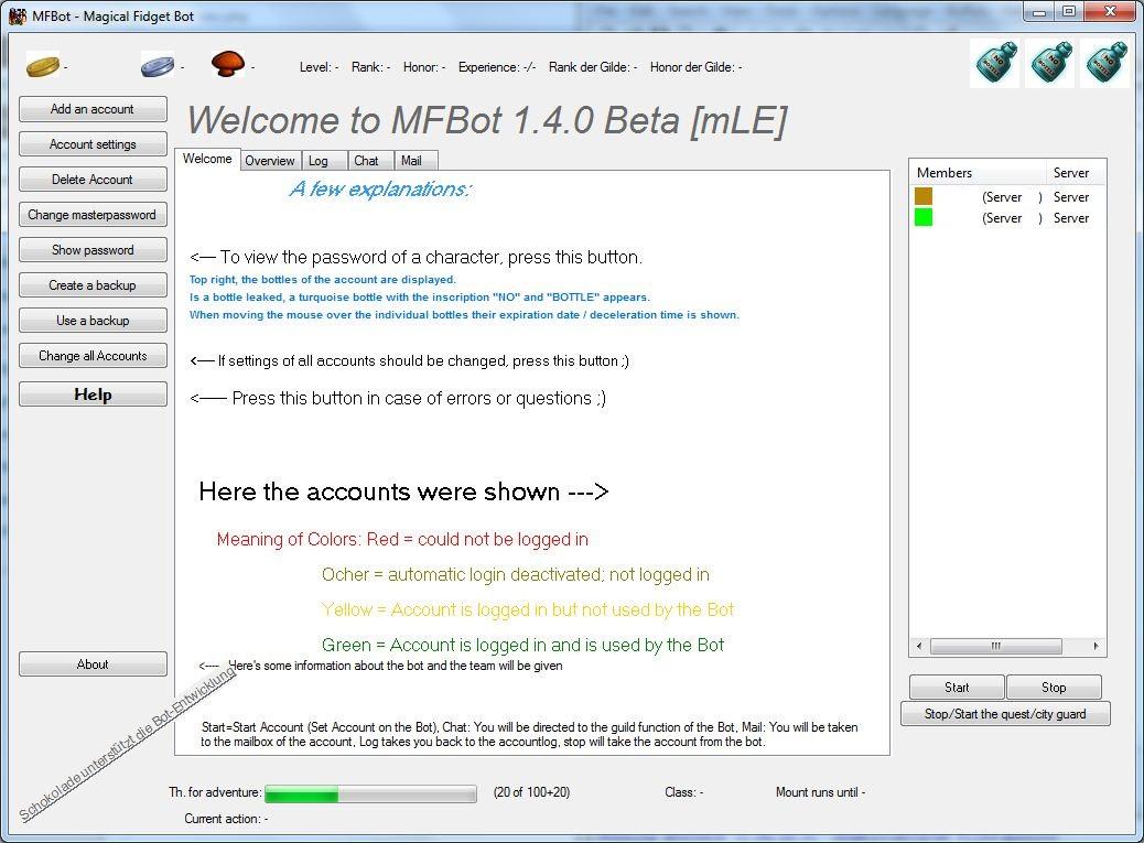 Screenshot der Version 1.4 mit der Sprache Englisch