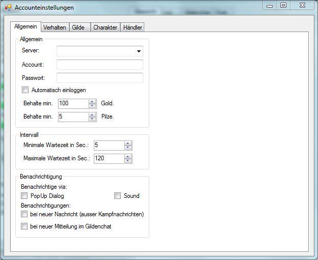Magical Fidget Bot - Version 1.6 Beta - Accounteinstellungen